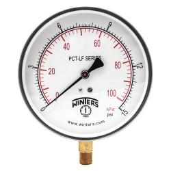 Winters Instruments - PCT319LF - 4-1/2 Lead Free Pressure Gauge, 0 to 15 psi