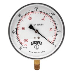 Winters Instruments - PCT320LF - Gauge, Pressure, 4-1/2in, 30in. Hg Vac to 0