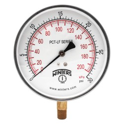 Winters Instruments - PCT321LF - Gauge, Pressure, 4-1/2in., 0 to 30 psi