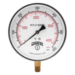 Winters Instruments - PCT331LF - Gauge, Pressure, 4-1/2in., 0 to 600 psi