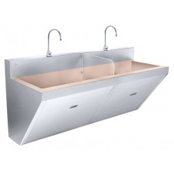 Just Manufacturing - CU-J-770-2-S - Stainless Steel Scrub Sink, With Faucet, Wall Mounting Type, Copper