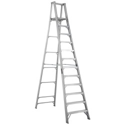 "Louisville Ladder - AP1012 - Aluminum Platform Stepladder, 13 ft. 4"" Ladder Height, 11 ft. 5"" Platform Height, 300 lb."