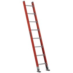 "Louisville Ladder - FE7108 - Fiberglass Plate Connect Straight Ladder, 8 ft. Ladder Height, 17-3/8"" Overall Width"