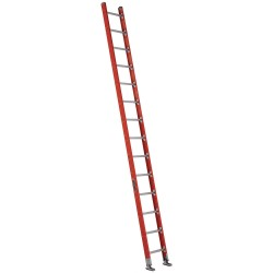 Louisville Ladder - FE7114 - Fiberglass Plate Connect Straight Ladder, 14 ft. Ladder Height, 17-3/8 Overall Width