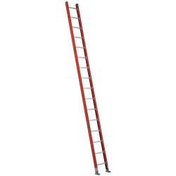 "Louisville Ladder - FE7116 - Fiberglass Plate Connect Straight Ladder, 16 ft. Ladder Height, 17-3/8"" Overall Width"