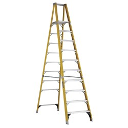 "Louisville Ladder - FP1110HD - Fiberglass Platform Stepladder, 9 ft. 8"" Ladder Height, 9 ft. 6"" Platform Height, 375 lb."