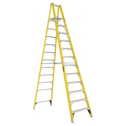 Louisville Ladder - FP1112HD - Fiberglass Platform Stepladder, 11 ft. 8 Ladder Height, 11 ft. 5 Platform Height, 375 lb.