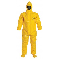 DuPont - BR128TYLLG0002BN - Hooded Chemical Resistant Coveralls with Elastic Cuff, Yellow, L, Tychem 9000