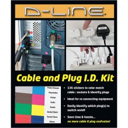D-Line - US/IDKIT1/GR - Black, Blue, Brown, Green, Red, Violet, White, Yellow Wire Marker, No. of Labels: 136