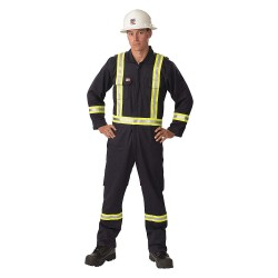 Big Bill - 1155US7-2XLR-NAY - Cotton/Nylon, Flame-Resistant Coverall with Reflective Trim, Size: 2XL, Color Family: Blues