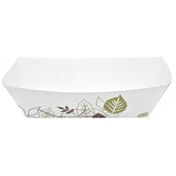 Dixie - KL500PATH - Paper Disposable Food Tray with 5 lb. Weight Capacity, White/Brown/Green; PK500