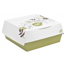 Dixie - 4021PATH - 5-1/2 x 5-1/2 x 1-3/8 Non Polycoated Paper Carry-Out Hamburger Carton, White/Brown/Green; PK200