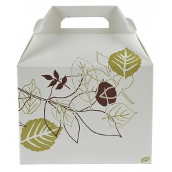 Dixie - 966PATH - 9 x 6 x 6-1/2 Non Polycoated Paper Carry-Out Carton w/Handle, White/Brown/Green; PK200