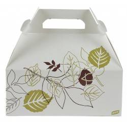 Dixie - 965PATH - 8-1/2 x 5-1/2 x 3-1/2 Non Polycoated Paper Carry-Out Carton w/Handle, White/Brown/Green; PK250