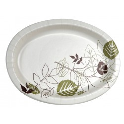 Dixie - SX9PLPATH - 6-1/2 x 9 Oval Disposable Platter, White/Brown/Green; PK1000