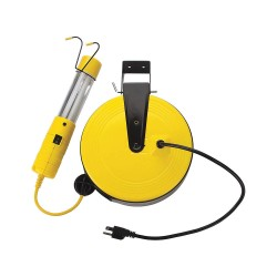Bayco - SL-826 - 50 ft. Indoor General Purpose Extension Cord Reel with Hand Lamp, Yellow; Handle: Yes