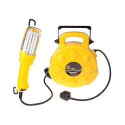 Bayco - SL-8908 - 50 ft. Indoor Commercial Extension Cord Reel with Hand Lamp, Black; Handle: Yes