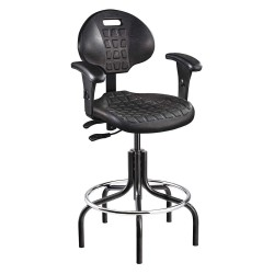 Bevco Precision - 7601-AA BLACK - Black Polyurethane Task Chair 12-1/2 Back Height, Arm Style: Adjustable