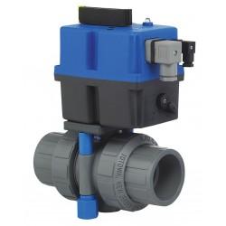 Plast-O-Matic Valves - TEBVB5-1-150VT-PV - PVC Electronic Actuated Ball Valve, 1-1/2 Pipe Size, 85-240VAC/VDC Voltage