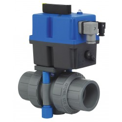 Plast-O-Matic Valves - TEBVB5-1-075EPT-PV-A - PVC Electronic Actuated Ball Valve, 3/4 Pipe Size, 85-240VAC/VDC Voltage
