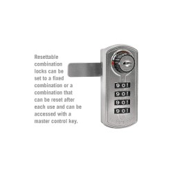Salsbury Industries - 22295SLV - Built In Locker Lock, Key Control: Mfr. No. 22296, Silver/White for Lift Handle, Turn Handle, and Si