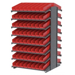Akro-Mils / Myers Industries - APRD18128R - 39 x 36-3/4 x 60-1/4 Double Sided Pick Rack with 1800 lb. Load Capacity, Gray Rack/Red Bins