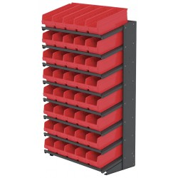 Akro-Mils / Myers Industries - APRS18098R - 36-3/4 x 18 x 60-1/4 Single Sided Pick Rack with 900 lb. Load Capacity, Gray Rack/Red Bins