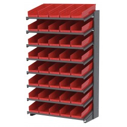 Akro-Mils / Myers Industries - APRS18138R - 36-3/4 x 18 x 60-1/4 Single Sided Pick Rack with 900 lb. Load Capacity, Gray Rack/Red Bins
