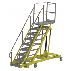 Tri Arc - ALS5090-M - 9-Step Adjustable Height Rolling Ladder, Serrated Step Tread, 92 to 132 Overall Height, 500 lb. Lo