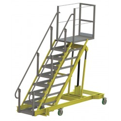 Tri Arc - ALS5090-A - 9-Step Adjustable Height Rolling Ladder, Serrated Step Tread, 92 to 132 Overall Height, 500 lb. Lo