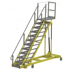 Tri Arc - ALS80120-M - 12-Step Adjustable Height Rolling Ladder, Serrated Step Tread, 122 to 162 Overall Height, 500 lb.