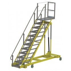 Tri Arc - ALS80120-A - 12-Step Adjustable Height Rolling Ladder, Serrated Step Tread, 122 to 162 Overall Height, 500 lb.