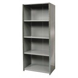 Hallowell - F4520-12HG - 36 x 12 x 87 Freestanding Steel Shelving Unit, Gray