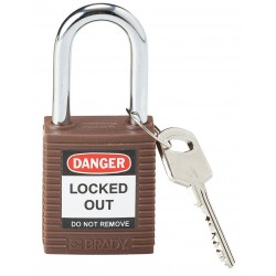 Brady - 101956 - Brown Lockout Padlock, Different Key Type, Master Keyed: No, Thermoplastic Body Material