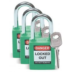 Brady - 105889 - Green Lockout Padlock, Alike Key Type, Master Keyed: No, Thermoplastic Body Material