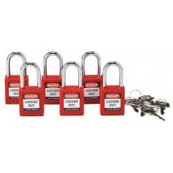 Brady - 105890 - Safety Padlock, 1.5 Steel Shackle, Keyed Alike, Locked Out Label, Pack of 6