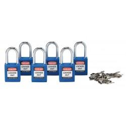 Brady - 105891 - Blue Lockout Padlock, Alike Key Type, Master Keyed: No, Thermoplastic Body Material
