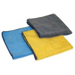 Carrand - 40061 - Gray, Blue, Yellow Microfiber Towel, 16 x 16, 3 PK