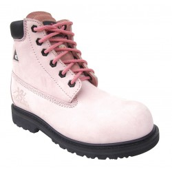 Moxie Trades - 60121 - 6H Women's Work Boots, Composite Toe Type, Nubuck Leather Upper Material, Pink, Size 6EE