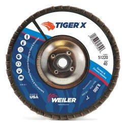 Weiler - 51225 - 4-1/2 Flap Disc, Type 27, 7/8 Mounting Hole, Medium, 80 Grit Zirconia Alumina, 1 EA