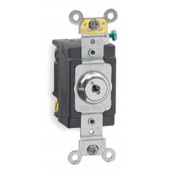 Leviton - 1221-2KL - Leviton 1221-2KL Single-Pole Key Lock Power Switch, 20A, 120/277V, Nickel Plated