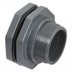 Hayward Industries - BFA1010SES - PVC Bulkhead Tank Fitting, 1 Pipe Size, Socket x Socket Connection Type