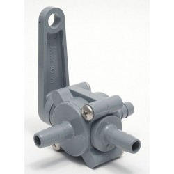 Other - PVC 350-6B6B6B-F - PVC Barb x Barb x Barb Ball Valve, Lever, 3/8 Pipe Size