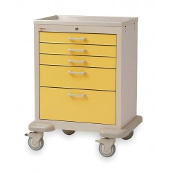 Metro (InterMetro) / Emerson - MBX3110TL-YE - 30D x 24-1/4W x 39H Steel Body/Drawers, Polymer Components Medical Cart, 600 lb. Load Capacity