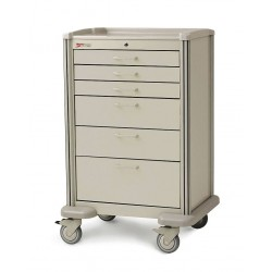 Metro (InterMetro) / Emerson - MBX4101TL-LT - 30D x 24-1/4W x 45H Steel Body/Drawers, Polymer Components Medical Cart, 600 lb. Load Capacity