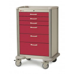 Metro (InterMetro) / Emerson - MBX4101TL-RE - 30D x 24-1/4W x 45H Steel Body/Drawers, Polymer Components Medical Cart, 600 lb. Load Capacity