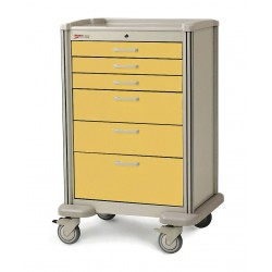Metro (InterMetro) / Emerson - MBX4101TL-YE - 30D x 24-1/4W x 45H Steel Body/Drawers, Polymer Components Medical Cart, 600 lb. Load Capacity