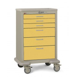 Metro (InterMetro) / Emerson - MBX3210TL-YE - 30D x 24-1/4W x 45H Steel Body/Drawers, Polymer Components Medical Cart, 600 lb. Load Capacity