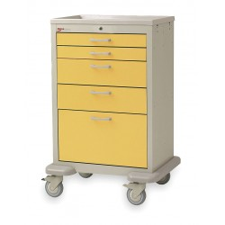 Metro (InterMetro) / Emerson - MBX2201TL-YE - 30D x 24-1/4W x 45H Steel Body/Drawers, Polymer Components Medical Cart, 600 lb. Load Capacity