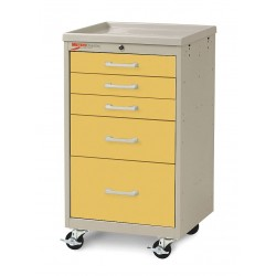 Metro (InterMetro) / Emerson - MBC3110TL-YE - 18-1/2D x 19-1/4W x 34-1/2H Steel Body/Drawers, Polymer Components Medical Cart, 175 lb. Load Cap